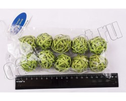 Шар из лозы светло-зеленый 3,5см (упак.10шт)