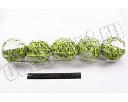 Шар из лозы светло-зеленый 10см (упак.5шт)