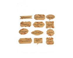 Аксессуар для декора 22/10-01 набор из 24 wishcard крафт с цветочными пожеланиями 5-9см