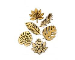 Декор деревянный 35/102 резной Тропические листья D5-7см (6шт)