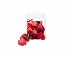 Набор сердечек блестящих 2,5см (упак.50шт) красный арт.1049/2.5/RDSHY