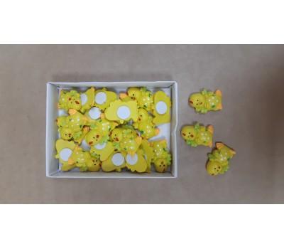 Цыплята декоративные на липучке желтые 2,5см (упак.24шт) арт.110559