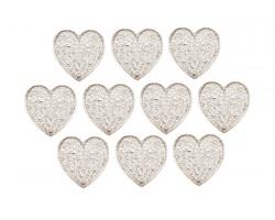 Декор сердечко ажурное плоский металл серебро (упак.10шт) арт.ДМ00105