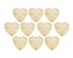 Декор сердечко ажурное плоский металл золото (упак.10шт) арт.ДМ00100