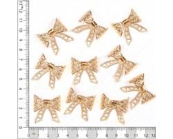Бантик плоский металл золото (упак.10шт) арт.ДМ00103