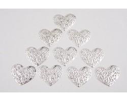 Декор сердечко ажурное №2 плоский металл серебро (упак.10шт) арт.ДМ00106