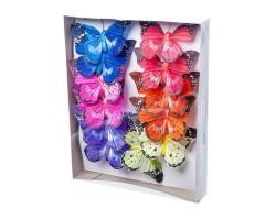 Набор бабочек на клипе 10см (12шт) арт.1826-12/10cm