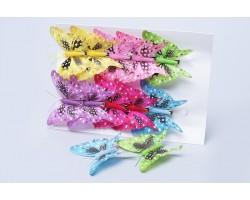 Бабочки на клипе (перо) 8см (упак.12шт) 282804