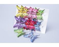 Бабочки на клипе (перо) 8см (упак.12шт) 282716