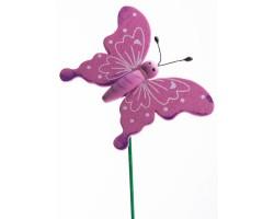 Бабочка на вставке 6*8*H21см сиреневый