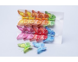 Бабочки на клипе (перо) 8см (упак.12шт) 282920 арт.88141