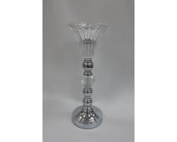 Подсвечник Очарование серебра (стекло/металл)  арт.F365-1