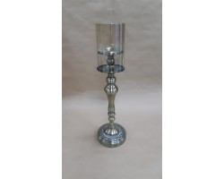Подсвечник Империал (металл/стекло) D10/13,5хH47см серебро арт.7143-5