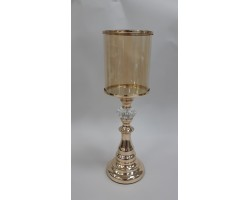 Подсвечник (металл/стекло) золото арт.H23