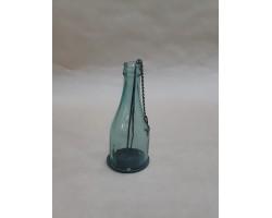 Подсвечник подвесной Бутылка (стекло/металл) H17см бирюзовый