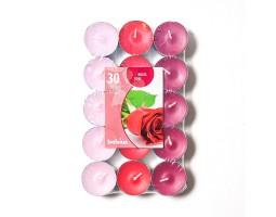 Набор свечей чайных (30шт) D3.7см 4 часа с запахом Розы