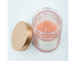 Свеча в банке с крышкой ароматическая (стекло) D8*Н12см розовый арт.HC7210080