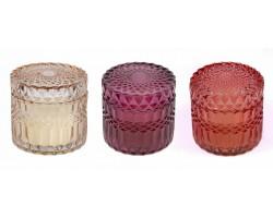 Свеча в банке с крышкой ароматическая (стекло) D8,5*Н9см розовый арт.ACC682230