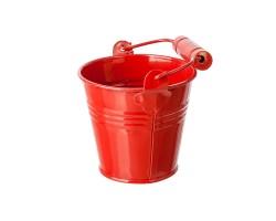 Кашпо Три линии Ведерко с деревянной ручкой (металл) D10*H10см красный арт.18038193-2229RD