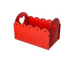 Кашпо Ажурный сердца (фанера) 15,5*16,7*H25,7см красный арт.14ФЯ091К