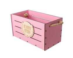 Ящик От всего сердца (фанера) 13,2*25,8*H10,5см розовый