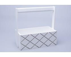 Ящик деревянный с ручкой Ромбы 25*12,5*10*H25см белый арт.76941