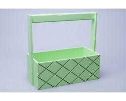 Ящик деревянный с ручкой Ромбы 25*12,5*10см зеленый арт.79688