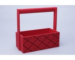 Ящик деревянный с ручкой Ромбы 25*12,5*10*H25см красный арт.76944