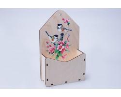 Кашпо-конверт Весенние цветы (дерево) 17,5*6,8*29,3см натуральный арт.81883
