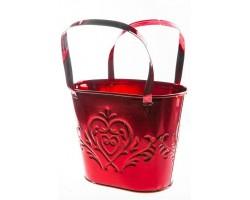Кашпо Сумочка с сердцем (металл) 16,8*11,8*H13,1см красный арт.ZS14A169-RED