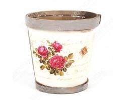 Кашпо (деревянный шпон/декупаж) Розовый куст 12*11,5см арт.КШ002