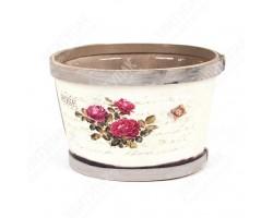 Кашпо (деревянный шпон/декупаж) Розовый куст 9,5*15см арт.КШ004