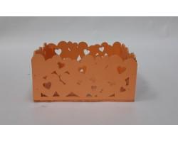 Ящик (дерево) Сердца 18*15*9см оранжевый