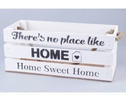 Ящик Home (дерево) с веревочными ручками 30*12*12см белый арт.71589