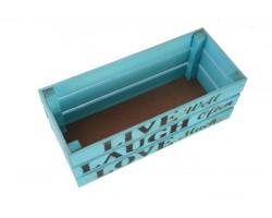 Ящик Live (дерево) 30*12*12см пастельный голубой арт.68360