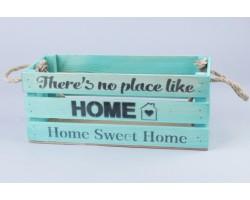Ящик Home (дерево) с веревочными ручками 30*12*12см тиффани арт.71595