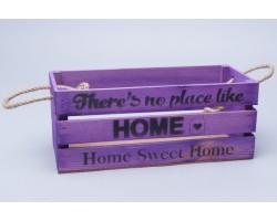 Ящик Home (дерево) с веревочными ручками 30*12*12см пастельный фиолетовый арт.73582