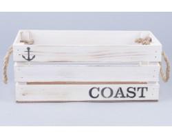 Ящик Coast (дерево) с веревочными ручками 30*12*12см белый винтаж арт.70631