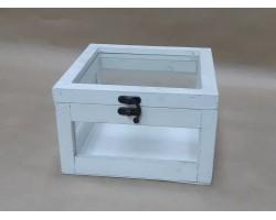 Ящик декоративный (дерево/стекло) 19*19*12см белый арт.21485-045