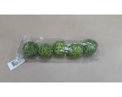 Шар из лозы зеленый 6см (упак.5шт)