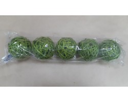 Шар из лозы зеленый 10см (упак.5шт)