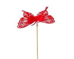 Вставка Бабочка барокко 8*H50см красный
