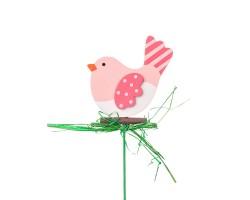 Вставка Птичка 7*Н20см розовый арт.FH17024P