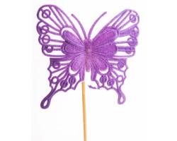 Вставка Бабочка барокко 8*H50см фиолетовый