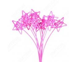 Звезды из ротанга на пике ярко-розовые (упак.10шт)