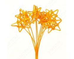 Звезды из ротанга на пике ярко-оранжевые (упак.10шт)