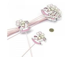 Вставка декоративная Мишка на лошадке розовый