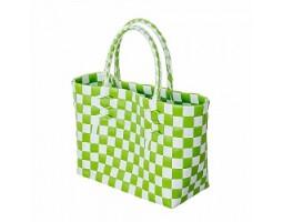 Сумка (пластик) 25см зеленый+белый
