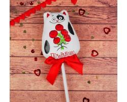 Игрушка в букет на вставке котик Поздравляю арт.2728298