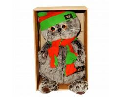 Басик в оранжево-зеленой шапке и шарфике 22см Ks22-087